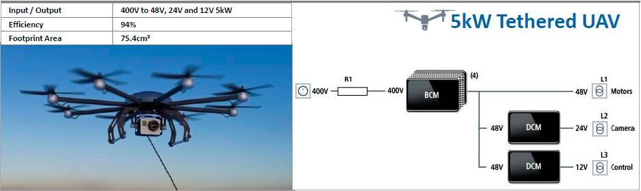 БПЛА мощностью 5кВт с питанием на модулях DCM